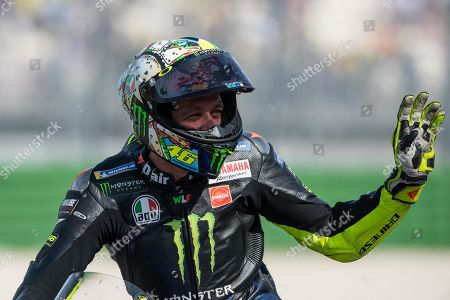 Italian MotoGP rider Valentino Rossi of the Yamaha Factory Racing  reacts after the Motorcycling Grand Prix of San Marino and Riviera di Rimini at the Misano Circuit in Misano Adriatico, Italy, 15 September 2019.
