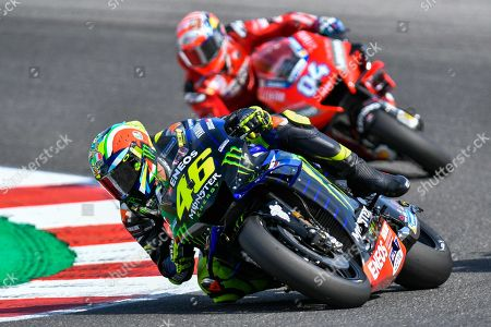 Italian MotoGP rider, number 46 Valentino Rossi, of the Yamaha Factory Racing and Italian MotoGP rider, number 4 ,Andrea Dovizioso, of the Ducati Team during the sunday MotoGP Race of the Motorcycling Grand Prix of San Marino and Riviera di Rimini at the Misano Circuit in Misano Adriatico, Italy, 15 September 2019.