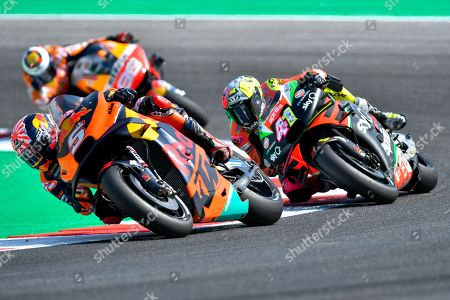 French MotoGP rider, number 5, Johann Zarco, of the Red Bull KTM Factory Racing  , Spanish MotoGP rider, number 41 Aleix Espargaro, of the Aprilia Racing Team Gresini and Spanish MotoGP rider, number 99,  Jorge Lorenzo, of the Repsol Honda Team during the sunday MotoGP Race of the Motorcycling Grand Prix of San Marino and Riviera di Rimini at the Misano Circuit in Misano Adriatico, Italy, 15 September 2019.