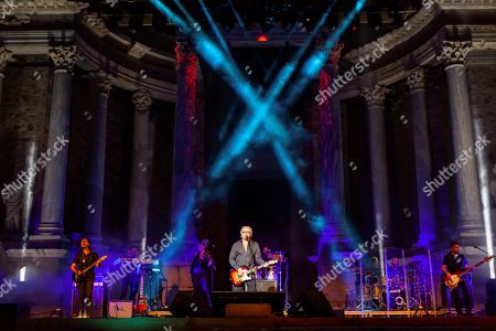 Stock Image of Umberto Tozzi (C) performs on stage on occasion of the Stone and Music Festival at the Roman Theater in Merida, Extremadura, southern Spain, 14 September 2019 (issued 15 September 2019).