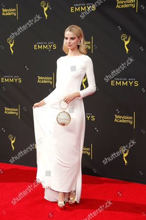 Stock Photo of Allie Evans arrives for the 2019 Creative Arts Emmy Awards at the Microsoft Theater in Los Angeles, California, USA, 14 September 2019. The Creative Arts Emmy Awards honor excellence in Television technical categories such as makeup, casting direction, costume design, editing and cinematography. The 71st Primetime Emmy Awards Ceremony will take place on 22 September 2019.