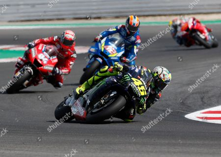 Italy's Valentino Rossi steers his motorcycle in the MotoGP race during the San Marino Motorcycle Grand Prix at the Misano circuit in Misano Adriatico, Italy