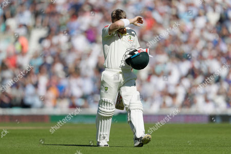 Australia's David Warner leaves the pitch after he is caught by England's Rory Burns off the bowlng of England's Stuart Broad during the fourth day of the fifth Ashes test match between England and Australia at the Oval cricket ground in London