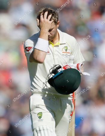 Australia's David Warner leaves the pitch after he is caught by England's Rory Burns of the bowlng of England's Stuart Broad during the fourth day of the fifth Ashes test match between England and Australia at the Oval cricket ground in London