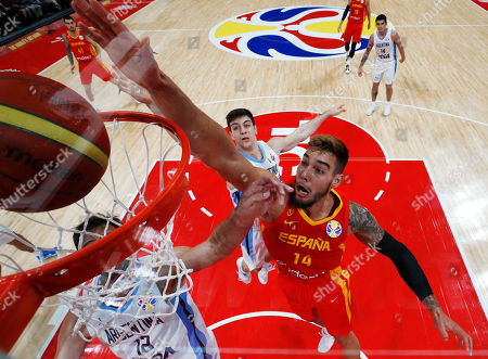 Stock Image of Willy Hernangomez Geuer (C) of Spain in action during FIBA Basketball World Cup 2019 final match between Argentina and Spain in Beijing, China, 15 September 2019.