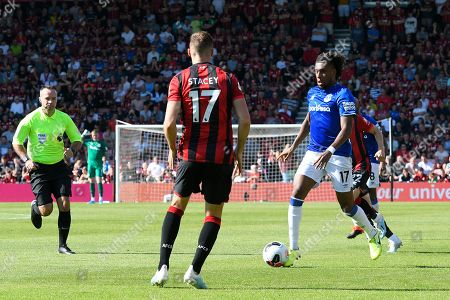 Alex Iwobi (17) of Everton on the attack during the Premier League match between Bournemouth and Everton at the Vitality Stadium, Bournemouth