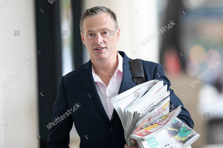 Stock Photo of Brexit Party MEP Martin Daubney arrives at the BBC. Later he will appear on the Andrew Marr Show.