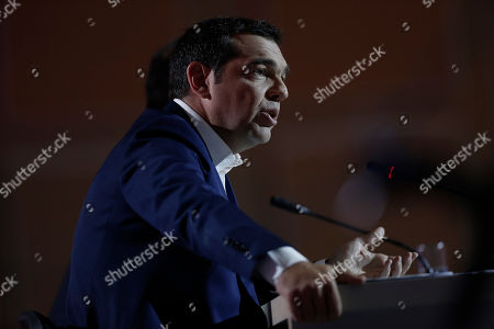 Leader of the main opposition Syriza party Alexis Tsipras speaks during a press conference for the 84th Thessaloniki International Fair in Thessaloniki, Greece, 15 September 2019. The 84th edition of the business exhibition runs from 07 to 15 September 2019.