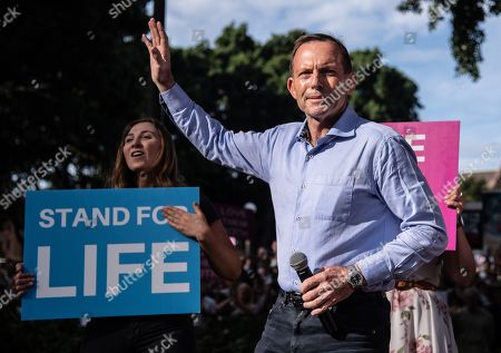Australian former prime minister of Tony Abbott attends an anti-abortion rally in Hyde Park in Sydney, New South Wales, Australia, 15 September 2019. Members of Parliament (MPs) joined pro-life and pro-family groups, women's advocates, faith leaders and thousands of people from across the state to rally against the Reproductive Health Care Reform Bill 2019.