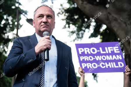 Barnaby Joyce, Australian former deputy prime minister, speaks during an anti-abortion rally in Hyde Park in Sydney, New South Wales, Australia, 15 September 2019. Members of Parliament (MPs) joined pro-life and pro-family groups, women's advocates, faith leaders and thousands of people from across the state to rally against the Reproductive Health Care Reform Bill 2019.