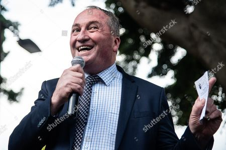 Stock Picture of Barnaby Joyce, Australian former deputy prime minister, speaks during an anti-abortion rally in Hyde Park in Sydney, New South Wales, Australia, 15 September 2019. Members of Parliament (MPs) joined pro-life and pro-family groups, women's advocates, faith leaders and thousands of people from across the state to rally against the Reproductive Health Care Reform Bill 2019.