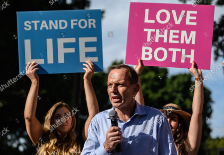 Australian former prime minister of Tony Abbott speaks during an anti-abortion rally in Hyde Park in Sydney, New South Wales, Australia, 15 September 2019. Members of Parliament (MPs) joined pro-life and pro-family groups, women's advocates, faith leaders and thousands of people from across the state to rally against the Reproductive Health Care Reform Bill 2019.