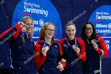 (L-R) Stephanie Millward, Brock Whiston, Toni Shaw and Alice Tai of Great Britain pose with their gold medals after winning the women's 4 x 100M Freestyle Relay 34PTS on day 7 of the World Para Swimming Championships at the London Aquatics Centre in London, Britain, 15 September 2019. The event is one of the largest Para Swimming championships and will see nearly 600 swimmers compete from 09 September to 15 September 2019.