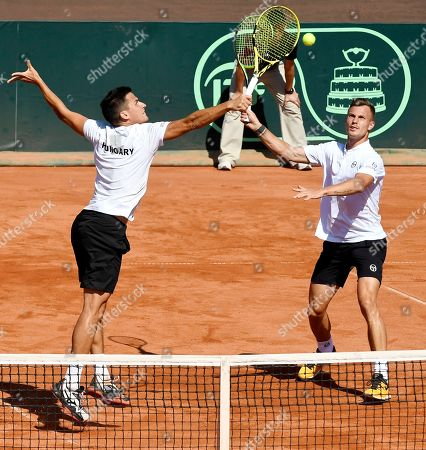 Marton Fucsovics (R) and Attila Balazs of Hungary in action during their match against 