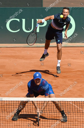 Denys Molchanov (front) and Sergiy Stakhovsky (rear) of Ukraine in action during their match against Attila Balazs and Marton Fucsovics of Hungary in rubber 3 of tennis Davis Cup Group I, Europe/Africa 1st round tie Hungary vs Ukraine in Budapest, Hungary, 15 September 2019.