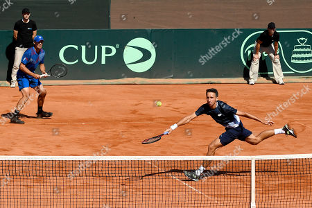Stock Picture of Denys Molchanov (L) and Sergiy Stakhovsky (R) of Ukraine in action during their match against Attila Balazs and Marton Fucsovics of Hungary in rubber 3 of tennis Davis Cup Group I, Europe/Africa 1st round tie Hungary vs Ukraine in Budapest, Hungary, 15 September 2019.