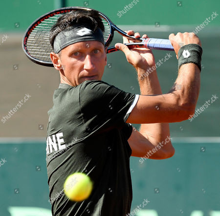Sergiy Stakhovsky of Ukraine plays against Marton Fucsovics of Hungary in rubber 4 of tennis Davis Cup Group I, Europe/Africa 1st round match Hungary vs. Ukraine in Budapest, Hungary, 15 September 2019.