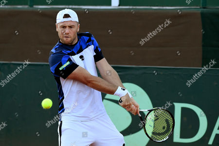Illya Marchenko of Ukraine in action against Attila Balazs of Hungary in rubber 5 of tennis Davis Cup Group I, Europe/Africa 1st round match Hungary vs. Ukraine in Budapest, Hungary, 15 September 2019.