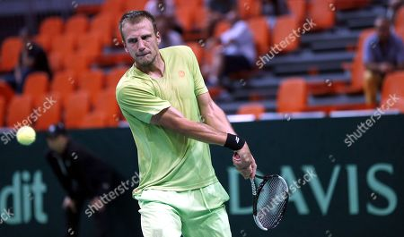 Stock Photo of Mirza Basic of Bosnia in action against Jiri Vesely of Czech Republic during the Davis Cup Europe/Africa Group I first round between Bosnia and Czech Republic in Zenica, Bosnia and Herzegovina, 15 September 2019.