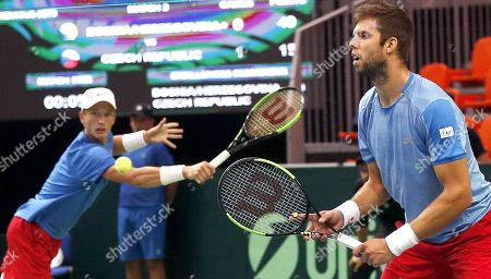 Jiri Lehecka (L) and Jiri Vesely of Czech Republic in action during their double match against Mirza Basic and Tomislav Brkic of Bosnia at the Davis Cup Europe/Africa Group I first round tie between Bosnia and Czech Republic in Zenica, Bosnia and Herzegovina, 15 September 2019.
