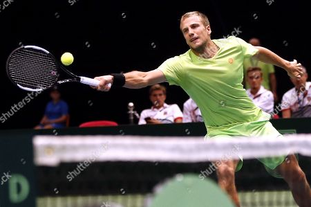 Mirza Basic of Bosnia in action during the double match against Jiri Lehecka and Jiri Vesely of Czech Republic at the Davis Cup Europe/Africa Group I first round tie between Bosnia and Czech Republic in Zenica, Bosnia and Herzegovina, 15 September 2019.