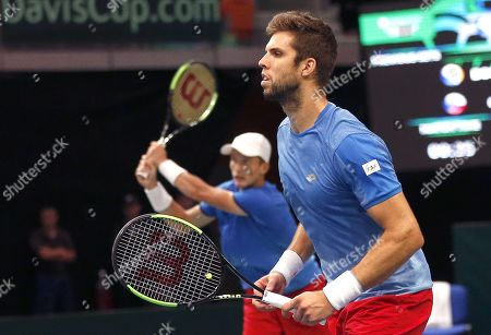 Jiri Lehecka (L) and Jiri Vesely (R) of Czech Republic in action during the double match against Mirza Basic and Tomislav Brkic of Bosnia at the Davis Cup Europe/Africa Group I first round tie between Bosnia and Czech Republic in Zenica, Bosnia and Herzegovina, 15 September 2019.