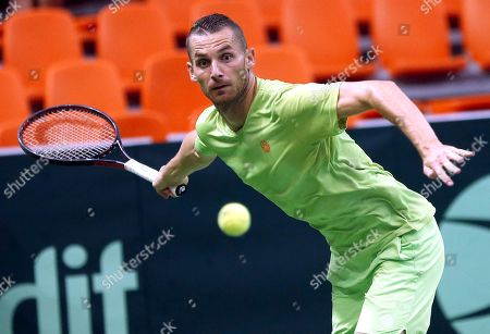 Mirza Basic of Bosnia in action in action during their double match against Jiri Lehecka and Jiri Vesely of Czech Republic at the Davis Cup Europe/Africa Group I first round tie between Bosnia and Czech Republic in Zenica, Bosnia and Herzegovina, 15 September 2019.