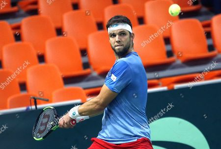 Jiri Vesely of Czech Republic in action against Mirza Basic of Bosnia during the Davis Cup Europe/Africa Group I first round between Bosnia and Czech Republic in Zenica, Bosnia and Herzegovina, 15 September 2019.
