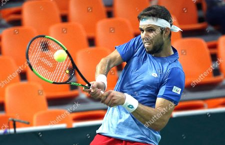 Stock Photo of Jiri Vesely of Czech Republic in action against Mirza Basic of Bosnia during the Davis Cup Europe/Africa Group I first round between Bosnia and Czech Republic in Zenica, Bosnia and Herzegovina, 15 September 2019.