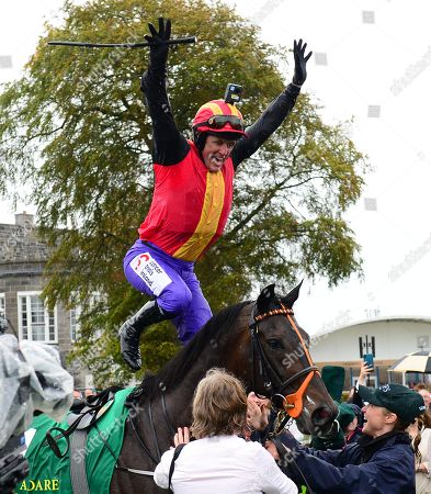 Curragh Tony McCOy can't hide his delight after winning the the Pat SMullen Champions Race for Cancer Trials Ireland on QUIZICAL.