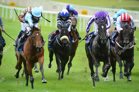 CURRAGH. Derrinstown Stud Flying Five Stakes. Group 1. FAIRYLAND and Ryan Moore (left) beats SO PERFECT (Donnacha O'Brien) 2nd right, for trainer Aidan O'Brien.