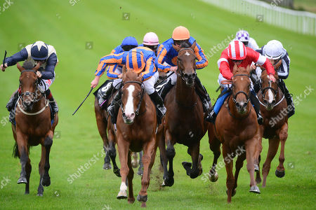 CURRAGH. Moyglare Stud Stakes. Group 1. LOVE and Ryan Moore (centre) beats DAAHYEH (right) for trainer Aidan O'Brien.