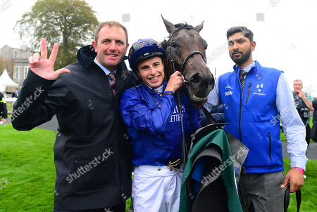 CURRAGH. Goffs Vincent O'Brien National Stakes. Group 1. PINATUBO and William Buick after their win for trainer Charlie Appleby amd groom Ameet Tikare.