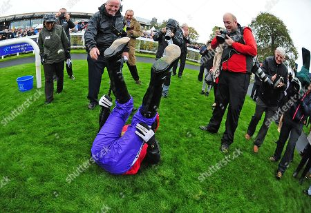 CURRAGH. Pat Smullen Champions Race. TONY McCOY doing a flying dismount from QUIZICAL after his win but ends up falling on the grass !!