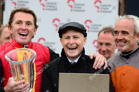 CURRAGH. PAT SMULLEN (centre) with TONY McCOY and RUBY WALSH after the Charity Race.