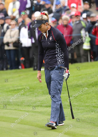 Stock Image of Lexi Thompson of the US after missing a putt on the 6th hole during the Sunday Singles match against Europe in the Solheim cup at Gleneagles, Auchterarder, Scotland