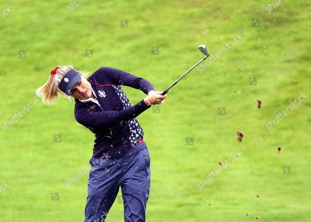 Lexi Thompson of the US playing the 2nd hole during the Sunday Singles match against Europe in the Solheim cup at Gleneagles, Auchterarder, Scotland