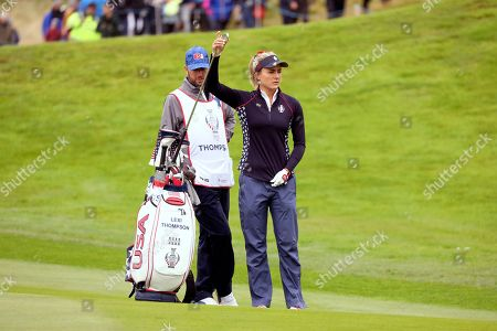 Lexi Thompson of the US on the 2nd hole during the Sunday Singles match against Europe in the Solheim cup at Gleneagles, Auchterarder, Scotland