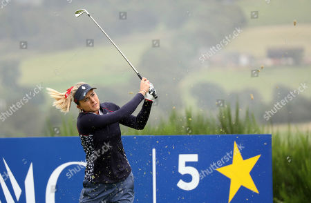 Lexi Thompson of the US teeing off on the 5th hole during the Sunday Singles match against Europe in the Solheim cup at Gleneagles, Auchterarder, Scotland