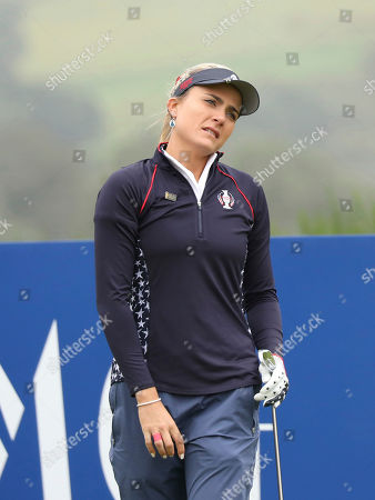 Lexi Thompson of the US after teeing off o the 5th hole during the Sunday Singles match against Europe in the Solheim cup at Gleneagles, Auchterarder, Scotland