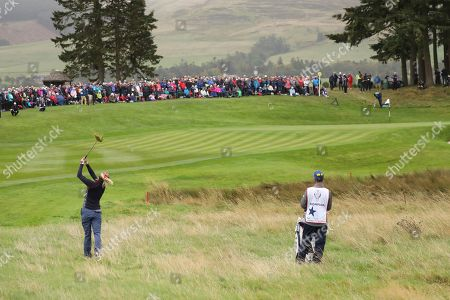 Lexi Thompson of the US plays from the rough on the 1st hole during the Sunday Singles match against Europe in the Solheim cup at Gleneagles, Auchterarder, Scotland