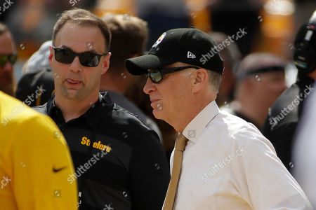 Stock Image of Pittsburgh Steelers President Art Rooney II, right, and co-owner Thomas. Tull stand on the sideline before an NFL football game between the Pittsburgh Steelers and the Seattle Seahawks, in Pittsburgh