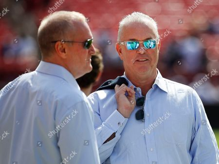 Week 2. Dallas Cowboys Executive Vice President Jerry Jones Jr., left, and Chief Operating Officer Stephen Jones, right, on the field before the start of an NFL football game against the Washington Redskins, in Landover, Md