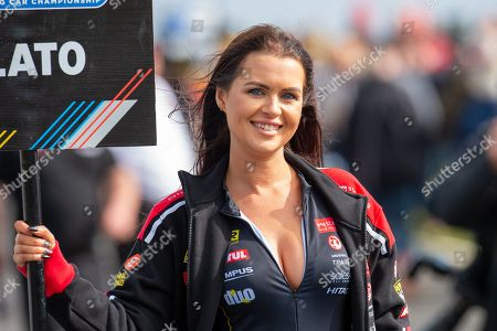 The grid girl of Jason PLATO Sterling Insurance with Power Maxed Racing before Round 23 of the Kwik Fit British Touring Car Championship at Knockhill Racing Circuit, Dunfermline