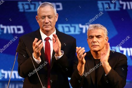 Benny Gantz, Yair Lapid. Blue and White party leaders, Benny Gantz, left, and Yair Lapid attend an election campaign in Tel Aviv, Israel, . Israel will hold general elections on Sept. 17