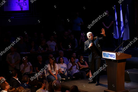 Blue and White party leader Yair Lapid speaks to his supporters during an election campaign in Tel Aviv, Israel, . Israel will hold general elections on Sept. 17