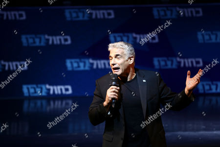 One of the leaders of Blue and White party, Yair Lapid speaks to his supporters during an election campaign in Tel Aviv, Israel, . Israel will hold general elections on September 17