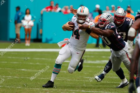 Ryan Fitzgerald. Miami Dolphins quarterback Ryan Fitzpatrick (14) runs the ball, during the second half at an NFL football game against the New England Patriots, in Miami Gardens, Fla