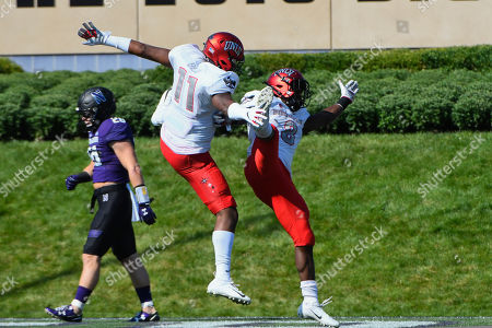 Charles Williams, Noah Bean. UNLV tight end Noah Bean (11) and running back Charles Williams (8) celebrate after Williams ran for a touchdown against Northwestern during the first half of an NCAA college football game on . in Evanston, Ill
