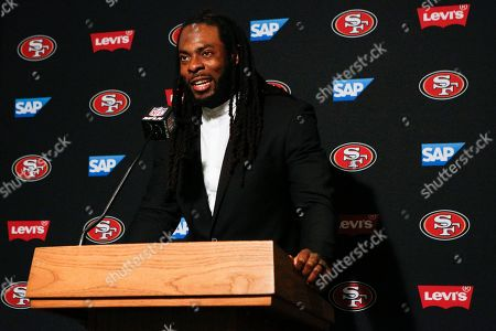 San Francisco 49ers cornerback Richard Sherman participates in a news conference after an NFL football game against the Cincinnati Bengals, in Cincinnati